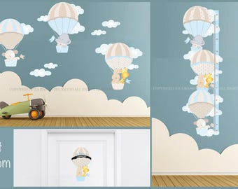 Set Room baby wall decals kit,growth chart and door decal Air Balloons
