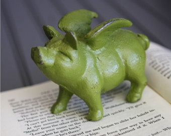 When Pigs Fly  Cast Iron Metal Paperweight Bookend Apple Green