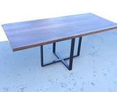 Walnut and Cube Base Tabl...