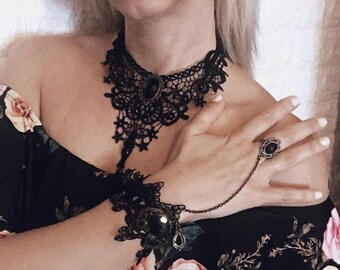Gothic Vintage lace choker necklace and bracelet-ring