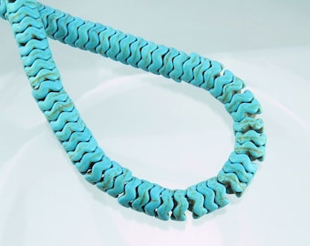 8x4mm Dyed Synthetic Turquoise Wavy Edged Saucer Gemstone Beads - 15 Inch Strand (BS731)