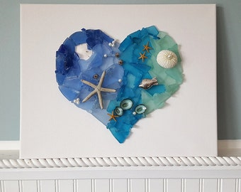 Beach Decor Sea Glass Heart Wall Hanging, Nautical Decor Sea Glass Heart Canvas, Coastal Decor, Heart Sign, Heart Wall Hanging, Beach Gift