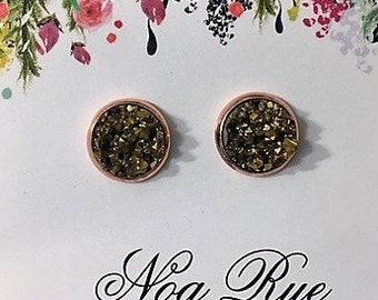 Gold Druzy Stone 10mm Stud Earrings