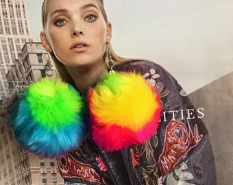 Rainbow Pompom Earrings