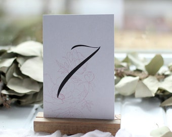 Set 1-20 of 4x6 inch hand drawn pink peony table numbers for wedding reception