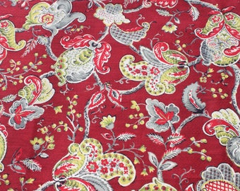 Vintage Maroon Red Yellow Floral Barkcloth Fabric By The Yard, Flower Bark Cloth Curtain Pillow Fabric BTY Yardage