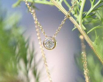 14k Diamond Necklace, Brilliant Cut, Minimalist Necklace, 0.11 Ct. Dainty Diamond Bezel Necklace, Diamond Solitaire Necklace