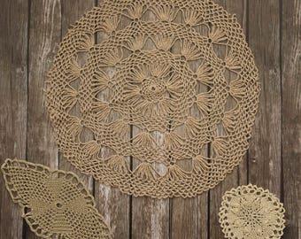 Crochet lace doilies, gold purple antique cotton doilies - set of 3