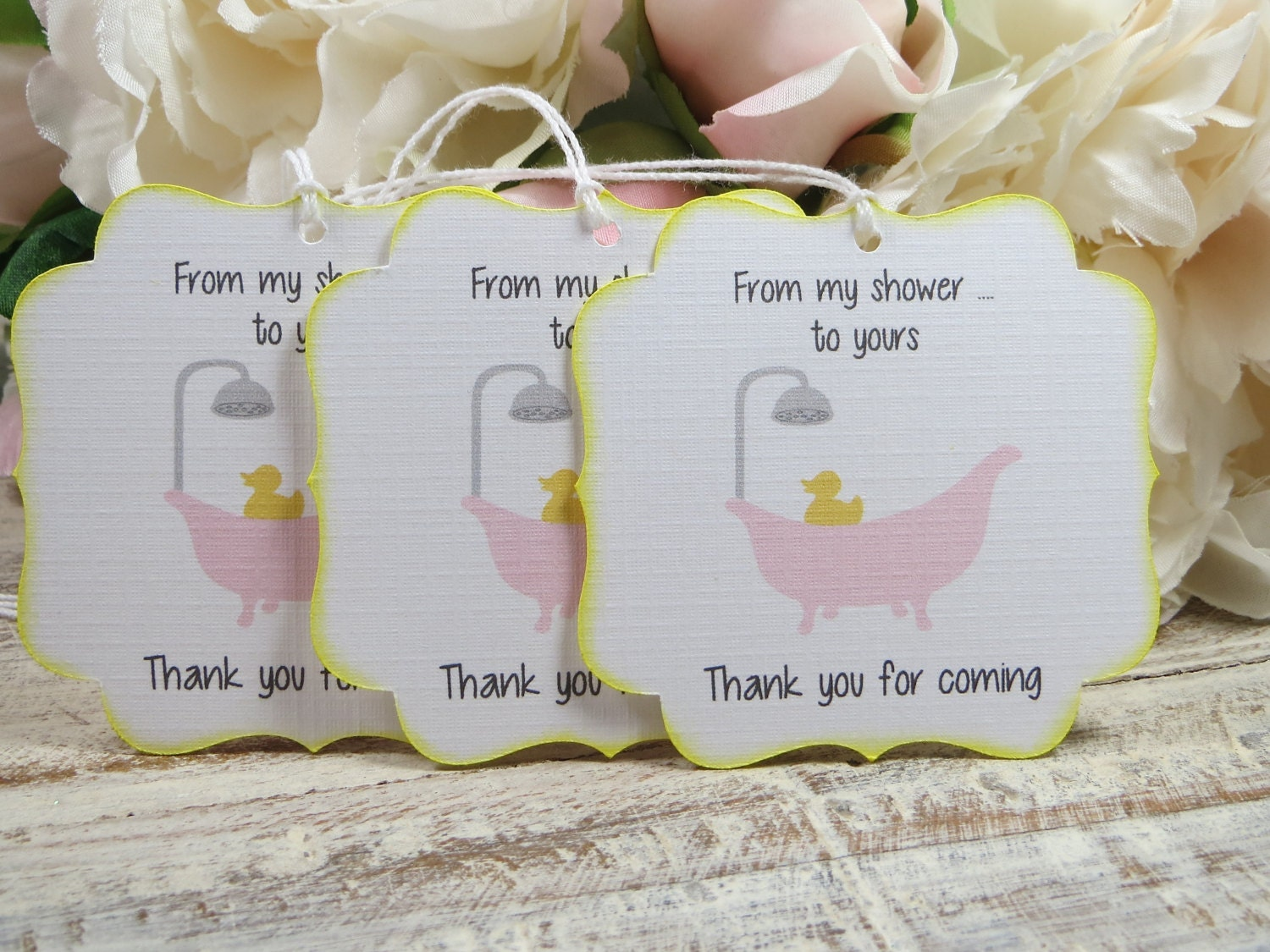 Bubble bath baby shower favor tags, Rubber duck baby shower thank ...