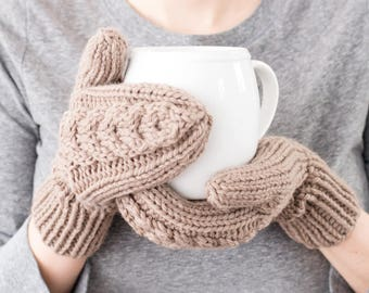 READY TO SHIP - Hand Knit Mittens, Cable Knit Mittens, Full Mittens, Wool Mittens, Women's Winter Mittens, Winter Accessories