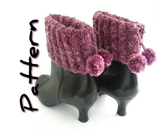 Pompom boot topper knitting pattern pdf, pom pom boot cuffs, bobble, easy, aran worsted weight yarn, seamless, instant digital download