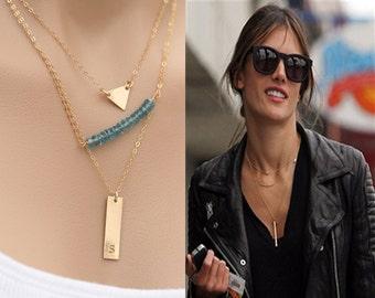 Three layered ,initial Bar necklace,triangle jewelry,London Blue topaz,Geometric jewelry,vertical monogram bar,custom font,custom birthstone