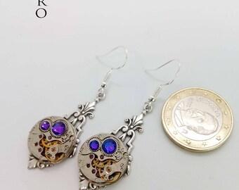 Art Deco Steampunk Earrings in heliotrope - Steampunk earrings - Art Deco - Jewelry - steampunk Jewellery - steampunk - gothic earrings