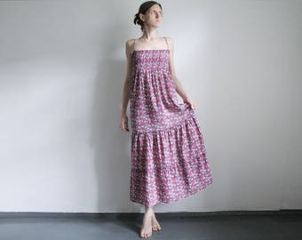 Vintage S/M long floral tiered dress