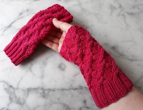 Cable knit armwarmers: handknit in pink merino wool. Knit wristwarmers. Original design. Made in Ireland. Aran knit gloves. Matching hat.