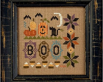 Lizzie Kate - a little boo K70 - Halloween Counted Cross Stitch Pattern, Fabric, Embellishments