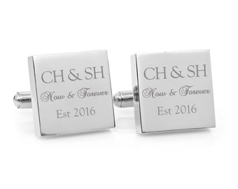 Valentine's Day gift - Now & Forever Engraved personalized square silver cufflinks -  Anniversary, wedding, couple monogram cufflinks