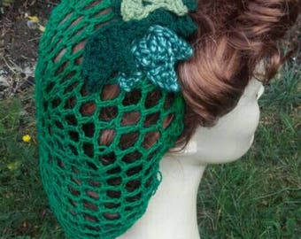 Poison Ivy, snood, Poison ivy costume, hairnet, 1940s snood, green snood, comic con,crochet snood,cosplay