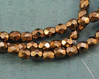 Czech Glass - 4mm - Bronze Gold - Fire Polished Faceted Round - 50 Beads