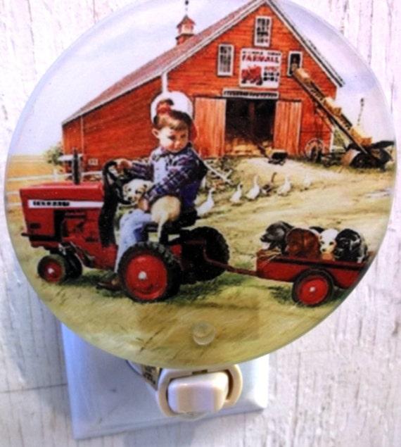 boy night light, tractor night light, farm night light, pretty night light, decorative light, bathroom light, kitchen light,