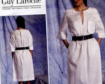 Guy Laroche Vogue V1400 Paris Original Neckline Slit Dress Pockets Sewing Pattern Size 8 to 16 OR 16 to 24 UNCUT