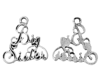"Big Sister Charm Antiqued Silver Sister Charm Family Charm 7/8"""