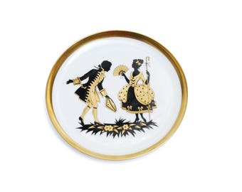 Vintage porcelain wall plate, white round gold black kissing courting couple, collectible home decoration, West Germany, 1960s wedding gift