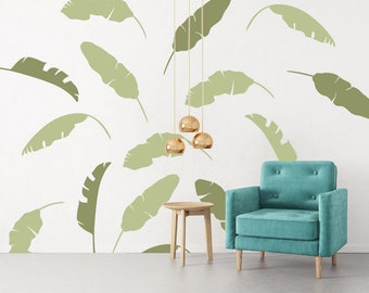etsy leaf hawaiian wall decor banana tropical decals market il