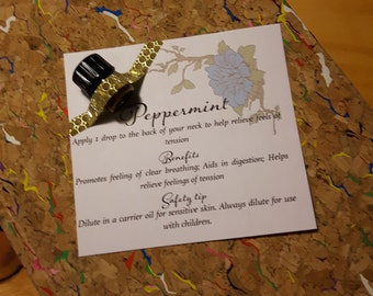 Peppermint Essential Oil Printable Sample Tags with Flowers