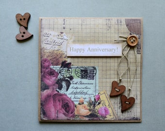 Happy Anniversary, Handmade Card, Hearts and Roses, Love Letters, Togetherness, Let's Celebrate, Wife and Husband, 3D, Mixed Media, Artsy