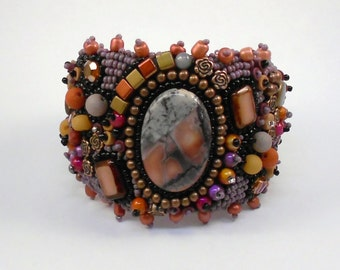 Dreamsicle Bead Embroidered Cuff