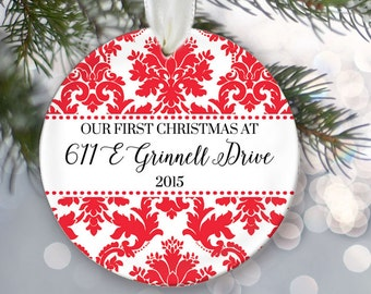 Our First Christmas at new home address Our New Home Ornament, Personalized First Home Ornament, Christmas Ornament, Housewarming Gift OR569