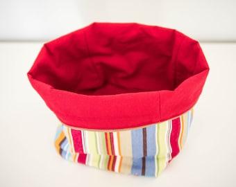 Round striped storage basket