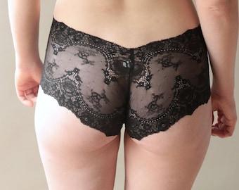 Black lace knickers, black panties, black lace underwear, black lace lingerie sheer, see through knickers, sexy black panties Brighton Lace