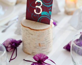 Rustic Wedding Birch Branch Menu Card Holders, Table Number Holders, Sign Holders