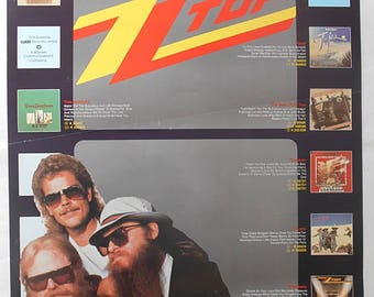 ZZ TOP Southern Rock Legends Presenting ZZ Top Rare Original Vintage Mid 1980's Official U.K. Record Company Poster