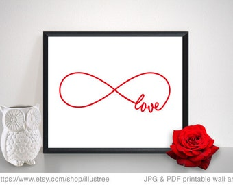 Valentine's day art print, wall art, printable card, infinite love, never ending love, love forever, anniversary gift, instant download