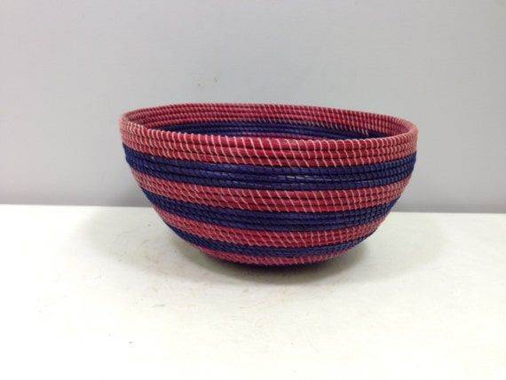 African Basket Lesotho Red Purple Woven South Africa Handmade Hand Woven Coiled Woman Unique Grass Bowl