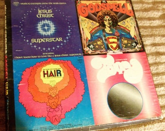 4 Rock Operas on 4 LP Records 1973  Hair--Jesus Christ Superstar--Tommy--Godspell
