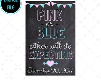 Chalkboard Pregnancy Announcement, Pink or Blue, Baby Announcement, Chalkboard Sign Printable,  Pregnancy Reveal, We're Expecting, Gender