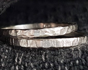 Sterling Silver Rings, Engagement Rings, Faceted Ring, Hammered Texture Ring, Wedding Rings, Stacking Rings, Silver Jewelry, Handmade