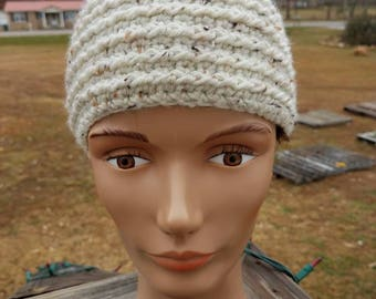 Off White Tweed Ribbed Buttoned Headband Earwarmer for Women