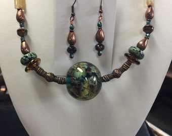 Large lamp work focal necklace set