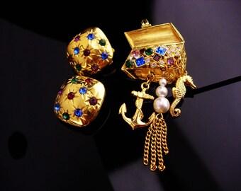 Nautical brooch set / signed pirate treasure chest / seahorse anchor charms / rhinestone earrings / sea goddess / clip on set  berebi signed