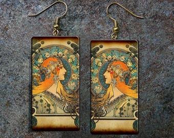 Art Nouveau polymer clay earrings