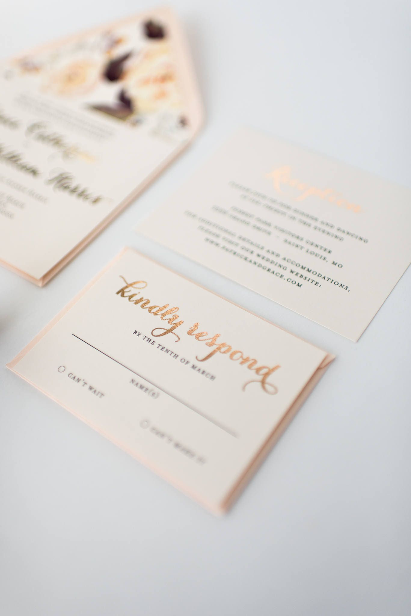 grace gold foil wedding invitation sample // rose gold foil / silver ...