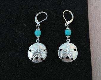 Sand Dollar Earrings Turquoise Color