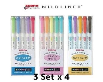 3Set x 4(12pcs) Zebra Highlighter Marker Mildliner WKT7-5C 5 Set/ WKT7-5C-RC 5 Set/WKT7-5C-NC 5 set