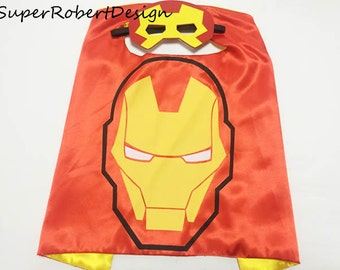 Iron man Cape, Ironman cape and mask, Ironman costume, superhero kids clothes, ironman cosplay, super hero cosplay, ironman mask