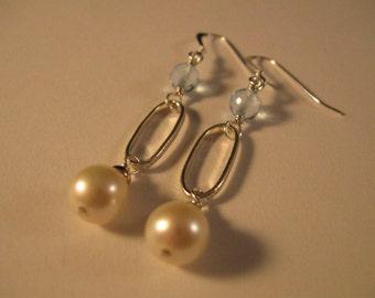 Blue Topaz Pearl Silver Hoop Earrings, gemstone earrings, gemstone jewelry, swiss blue topaz earrings, pearl earrings, silver earrings,drop